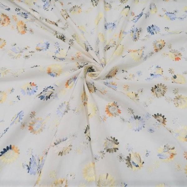 ★イタリー製 コットン・ナイロン混 刺繍 (96034-75)