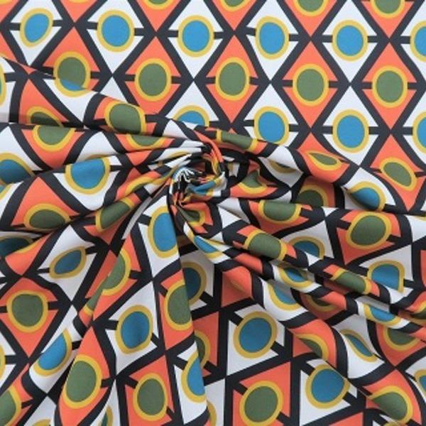★イタリー製 コットン・ポリウレタン混 幾何学模様プリント <01230-90>